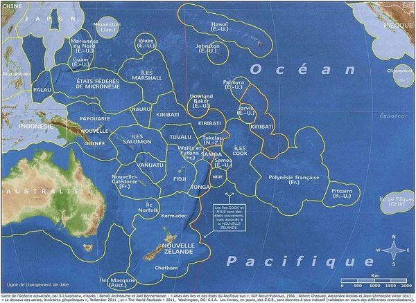 Carte des ZEE en Océanie
