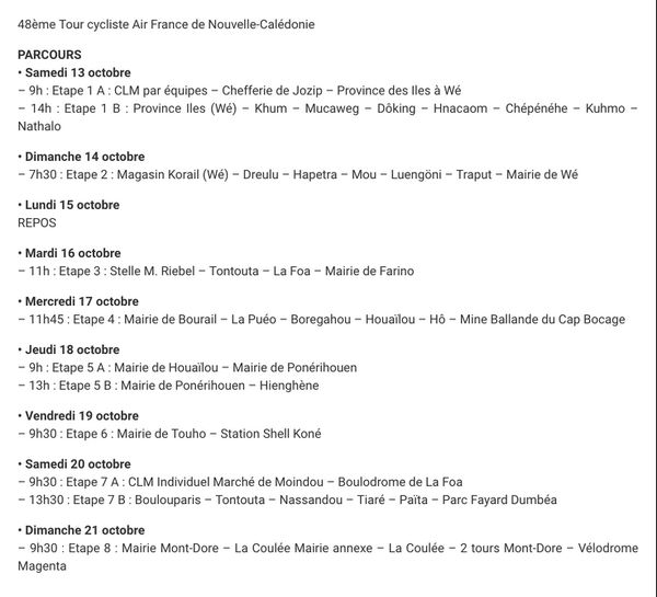 Programme du tour Air France Nouvelle-Calédonie