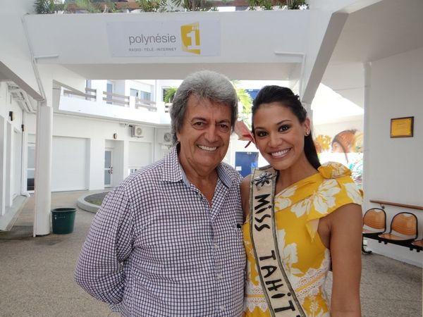 Miss Tahiti et ses dauphines avec Gabilou à Polynésie 1ère