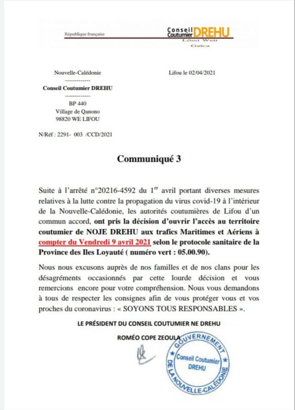 communiqué reprise vols Conseil coutumier Drehu