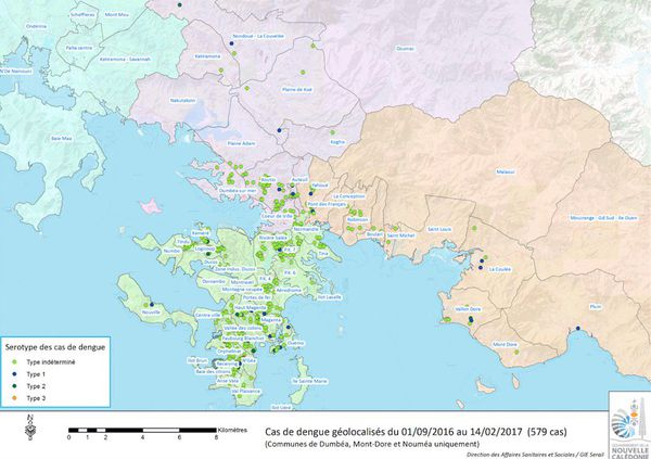 Cartographie des cas de dengue sur le grand Nouméa