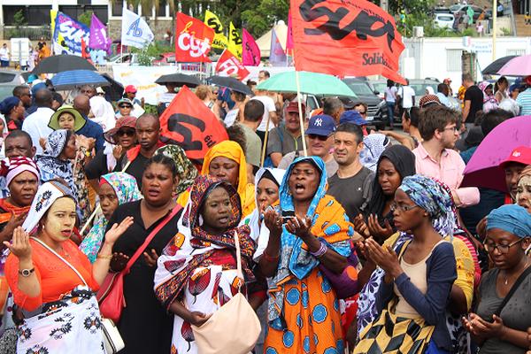 Manifestants de la grève générale à Mayotte