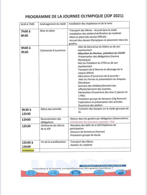 Programme journée Olympique