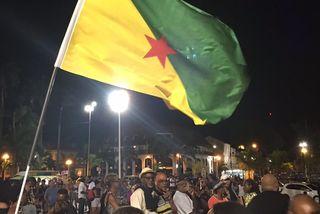 Un meeting était organisé à Cayenne à la veille de l'arrivée d'Emmanuel Macron.