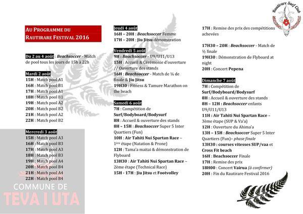 programme Ruatirare Festival