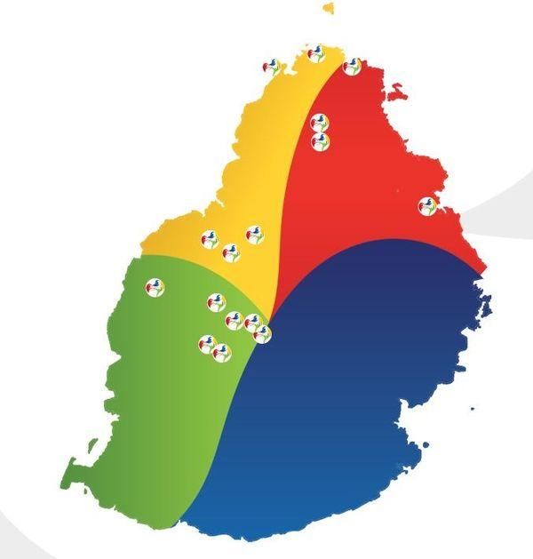 carte des sites des jeux des iles 2019 à maurice