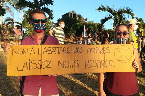 Saint-Pierre manifestation contre abattage arbres extinction Rebellion 974 Casabona 150221
