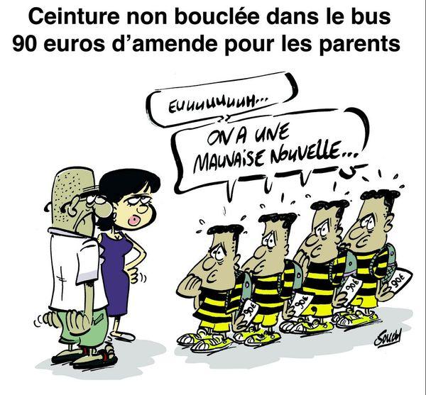 Le dessin de Souch : ceinture bus