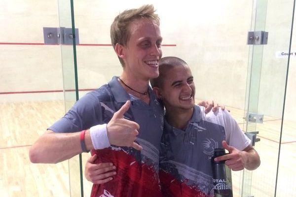 Fier d'être cagou, Enzo (à droite, ici avec Yann Lancrenon) revient disputer les Jeux du Pacifique à Samoa. Le squash calédonien rafle tout.