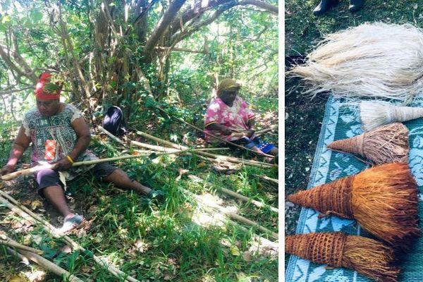 Travailler la fibre de Bourao, Pouébo, septembre 2020
