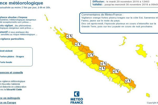carte météo orange