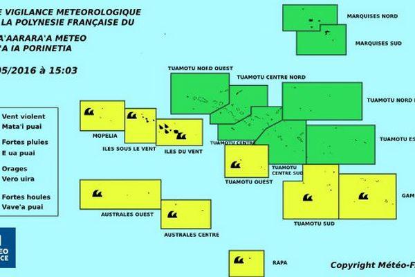 Vigilance jaune pour les fortes pluies aux Iles Du Vent, mer agitée d'Ouest en Est et aux Australes