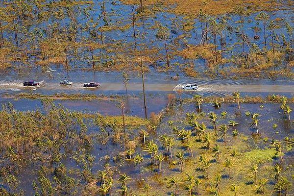 Terre inondée sous les tropiques. Montée des eaux