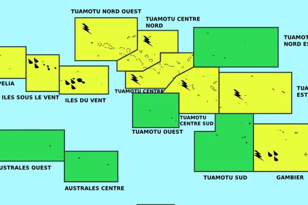 vigilance jaune tuamotu / Gambier / iles du vent et sous le vent