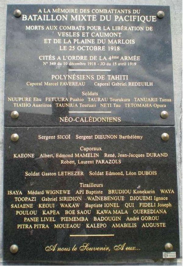Stèle tirailleurs du Pacifique : vesles-et-caumont