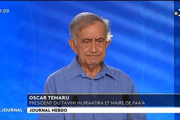 Oscar TEMARU, président du Tavini, maire de Faa'a et ancien représentant à l'Assemblée.