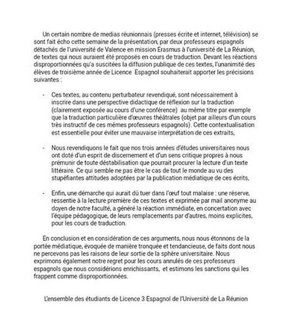 Courrier des étudiants en 3ème année de Licence Espagnol à l'Université de La Réunion 230319