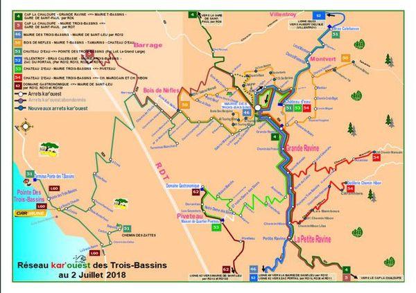 Kar'ouest plan réseau Trois Bassins