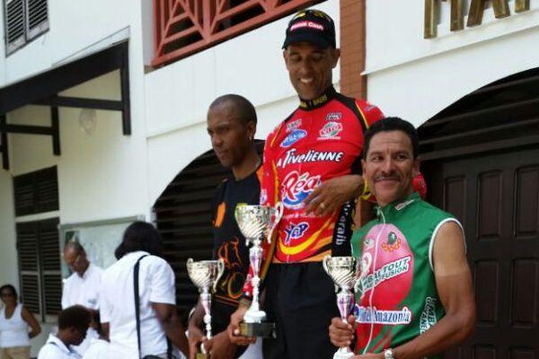 Le podium de la 1ère étape Iracoubo -Mana GP Coopération Régionale