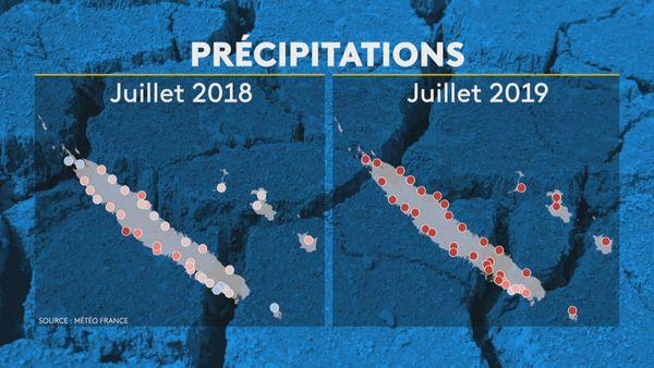Déficit pluviométrie juillet 2018 et 2019