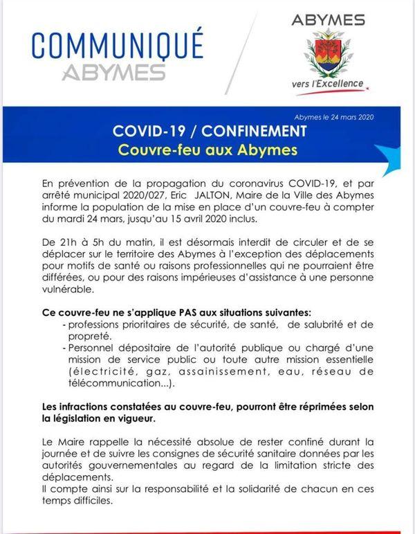 Arrêté Municipal - Les Abymes - Couvre-feu