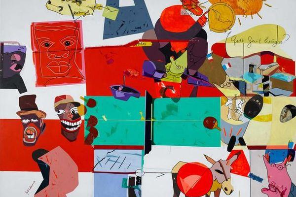 """""""Fonds d'actualité, n°1"""", 2002 (acrylique sur toile)"""