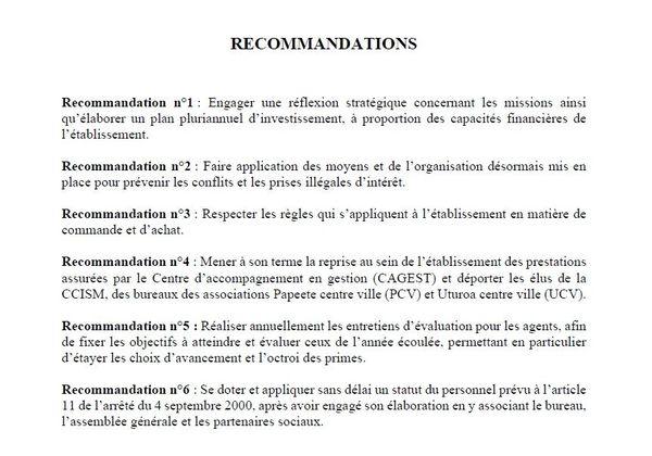 Recommandations de la CTC à la CCISM