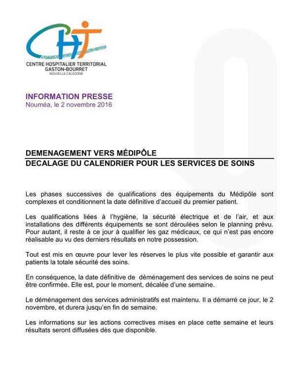 Communiqué presse : déménagement CHT reporté