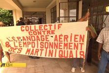 Les écologistes à la fin de l'audience, au tribunal administratif de Fort de France.