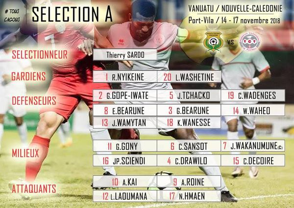 La sélection A de football retenue pour le déplacement au Vanuatu.