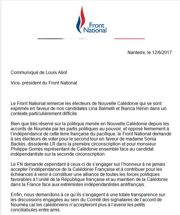 Communiqué Front National consignes de vote second tour législatives