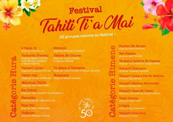 liste des groupes festival Tahiti Ti'a mai