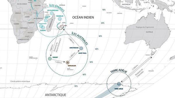 Carte des territoires des TAAF