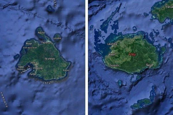 cartes google Efaté Vanuatu et Viti Levu Fidji