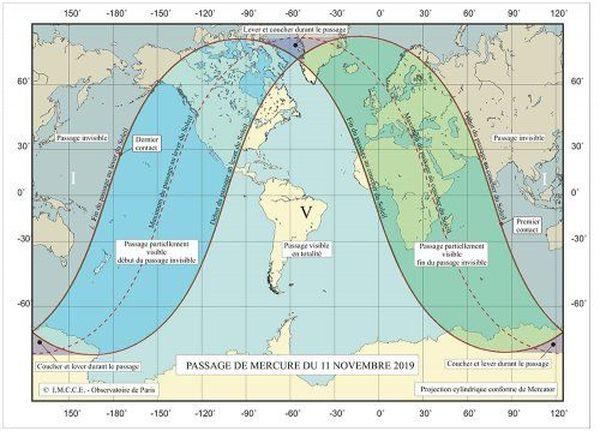 Carte de visibilité du passage de Mercure le lundi 11 novembre 2019