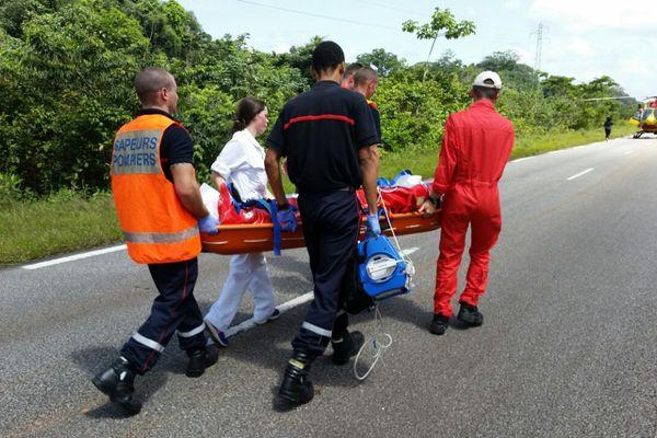 Transport d'une des victimes accident du 18 avril 2016