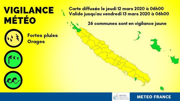 Carte de vigilance jaune du 12 mars 2020