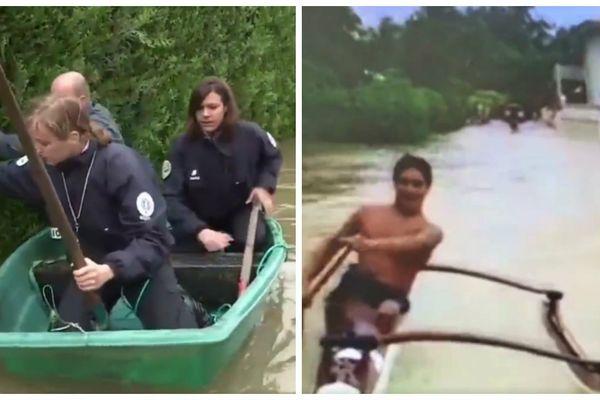 L'art de déplacer en bateau en métropole et à Rangiroa après des inondations