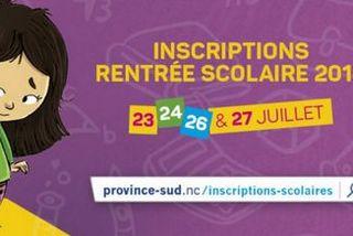 Province Sud : campagne inscription scolaire 2019