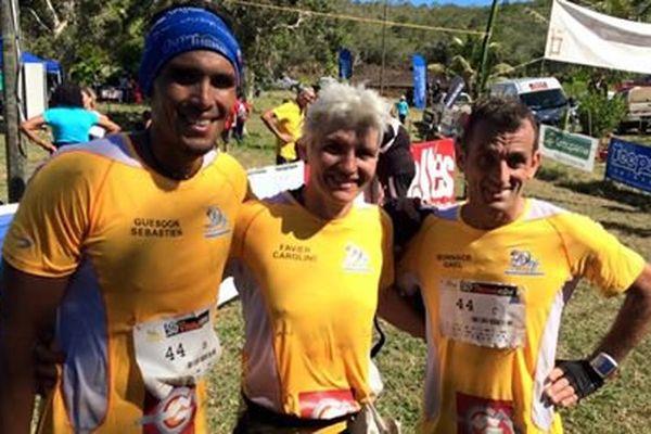 Les seconds du classement mixte : Sébastien Guesdon, Caroline Favier et Gaël Bonnace