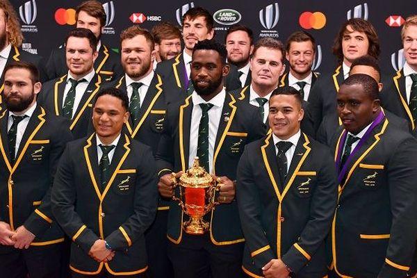 L'équipe d'Afrique du sud à la cérémonie de remise de la Coupe du monde à Tokyo