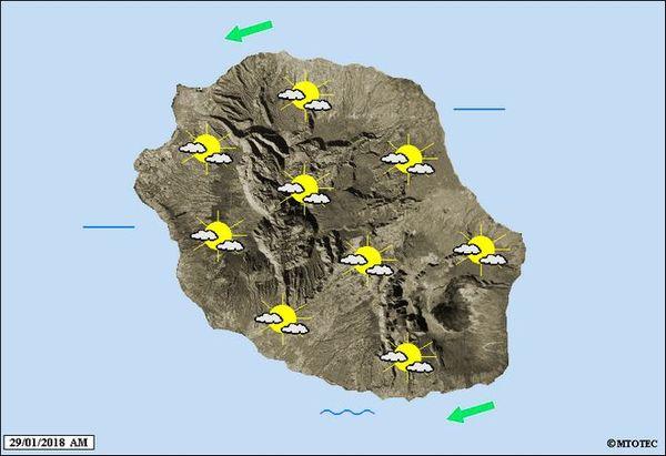 Carte météo de La Réunion