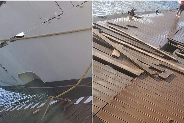 Wind spirit percute le quai d'Uturoa