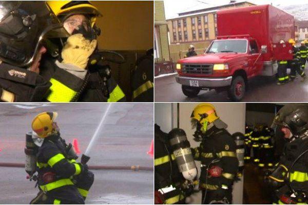 En exercice, les pompiers de Saint-Pierre simulent un incendie dans l'ancien hôpital