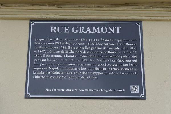 plaque explicative rue Gramont Bordeaux