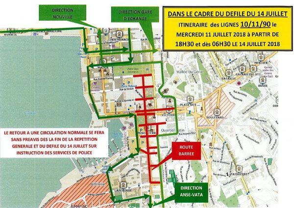 Plan changement de lignes Karuïa pour le 14 juillet
