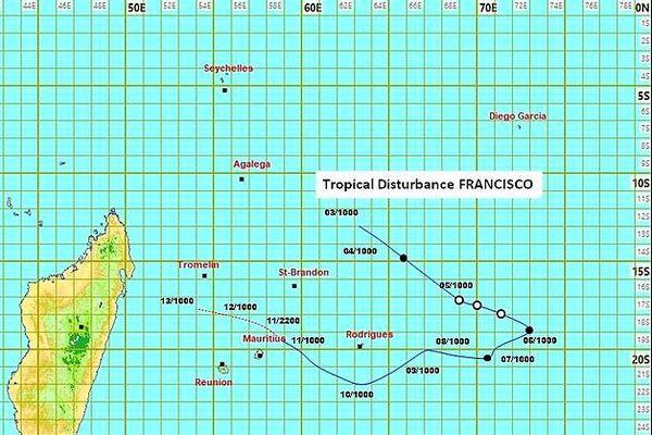 Prévision de trajectoire de Francisco 12 février 2020