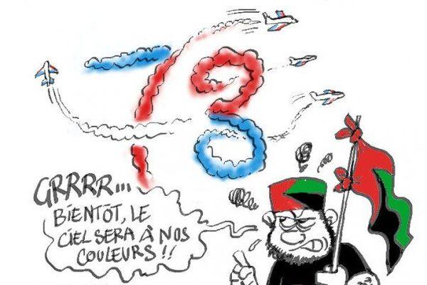 Drapeau rouge, vert, noir caricaturé