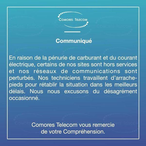 Communiqué Comores Telecom