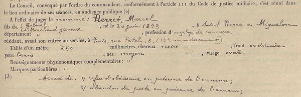 Juin 1915 : le jugement de Marcel Pierret, 21 ans, natif de Saint-Pierre et Miquelon